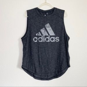 Adidas ID Winners Gray Muscle Graphic Tank Top